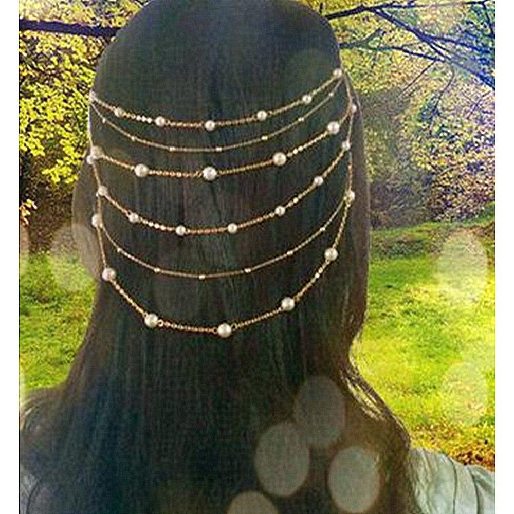 Vintage Handmade Pearl Beads Multilayer Tassel Wedding hair accessories Indian Tiaras Head Chain for women hair comb CF140