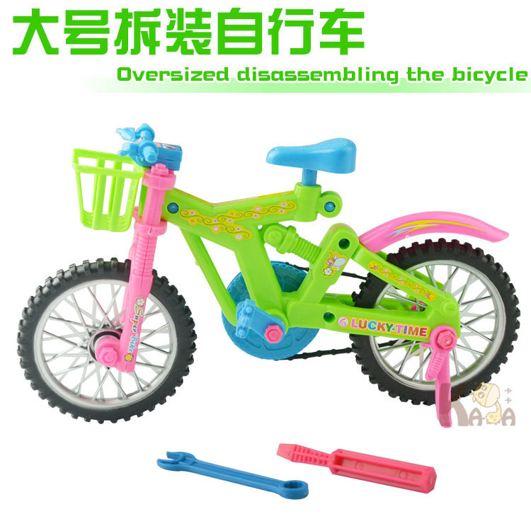 1pcs Miniature Fashion Modern Detachable Plastic Bike Bicycle Toy Model Building Kits Fits Rotatable Wheels Toys