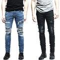 Nova Mens denim calças roupas zipper motociclista magras calças de brim dos homens magro fit justin bieber jean rasgado Do Vintage azul denim calças de brim dos homens homem