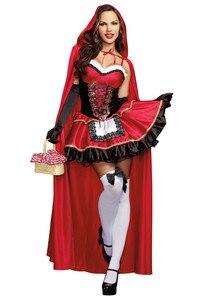 Image 2 - Roodkapje Kostuum Voor Vrouwen Fancy Volwassen Cosplay Fantasia Jurk Halloween Party Kostuum Toneelvoorstellingen Kostuum