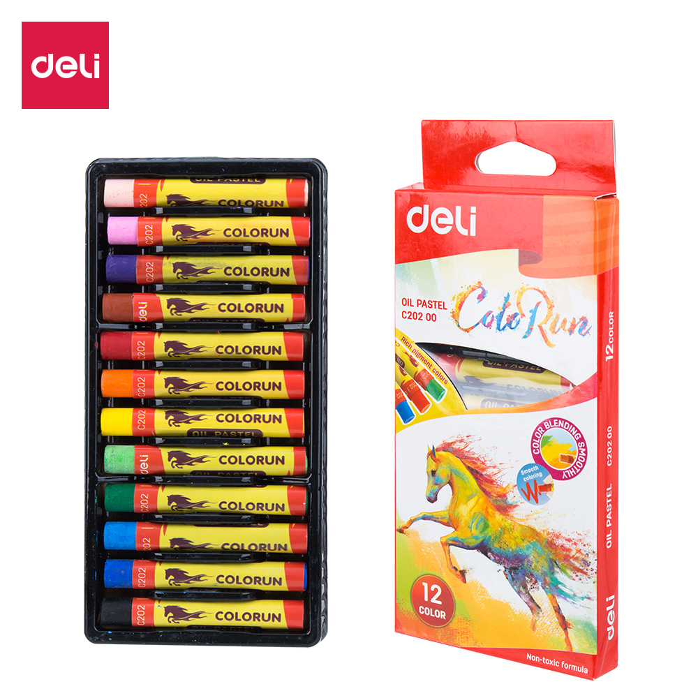 Deli EC20200 School Crayon Oil Pastel Rich Color 12C