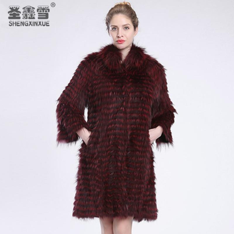 Fourrure red Renard 2018 Women Femmes Mode D'extérieur blue Manteaux Silver De Wine Fox Rayé Pardessus Style silver Real Veste Vêtements Camel WYYnOfUqFw