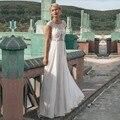 Китай 2017 Пляж Свадебные Платья A-Line Cap Рукава Шифон Кружева Винтаж Свадебное Платье Свадебное Платье Свадебное Платье Vestido Де Noiva