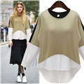 Women Blouse Blusa Feminina 2017 New Fashion European Style Contrast Color Batwing Sleeve Ladies Shirt Top Female Clothing Z389