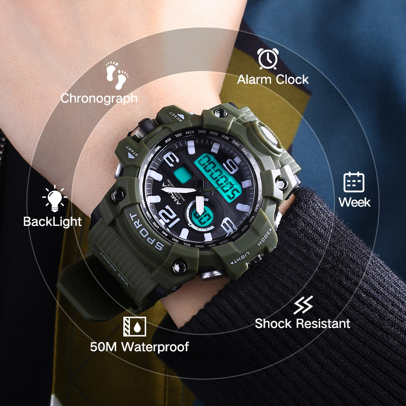 AMUDA Big Dial Outdoor Military Sports Watches Men Shock Waterproof LED Digital Quartz Wristwatches Clock Male Relogio Masculino 2018 amuda gold digital watch relogio masculino waterproof led watches for men chrono full steel sports alarm quartz clock saat