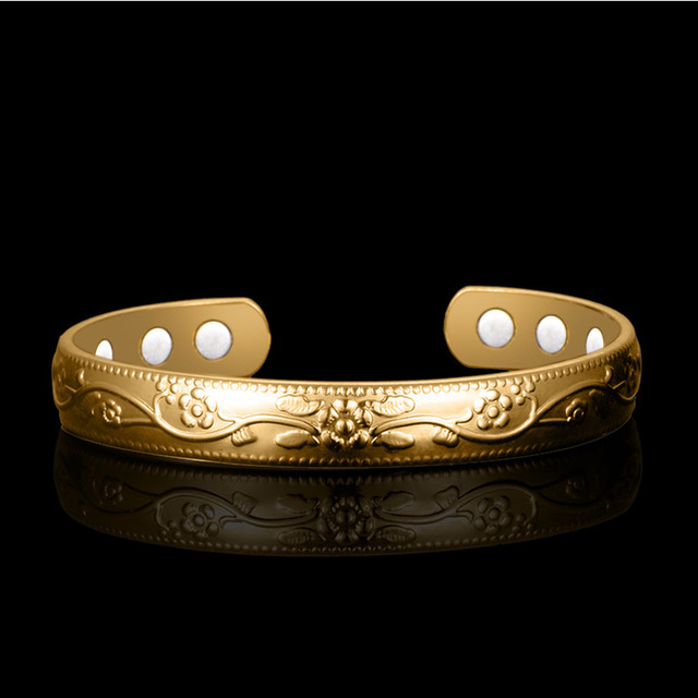 HOMOD Gold pattern Magnetic Copper Bangle Bracelet Healing Bio Therapy Arthritis Pain Relief Jewelry