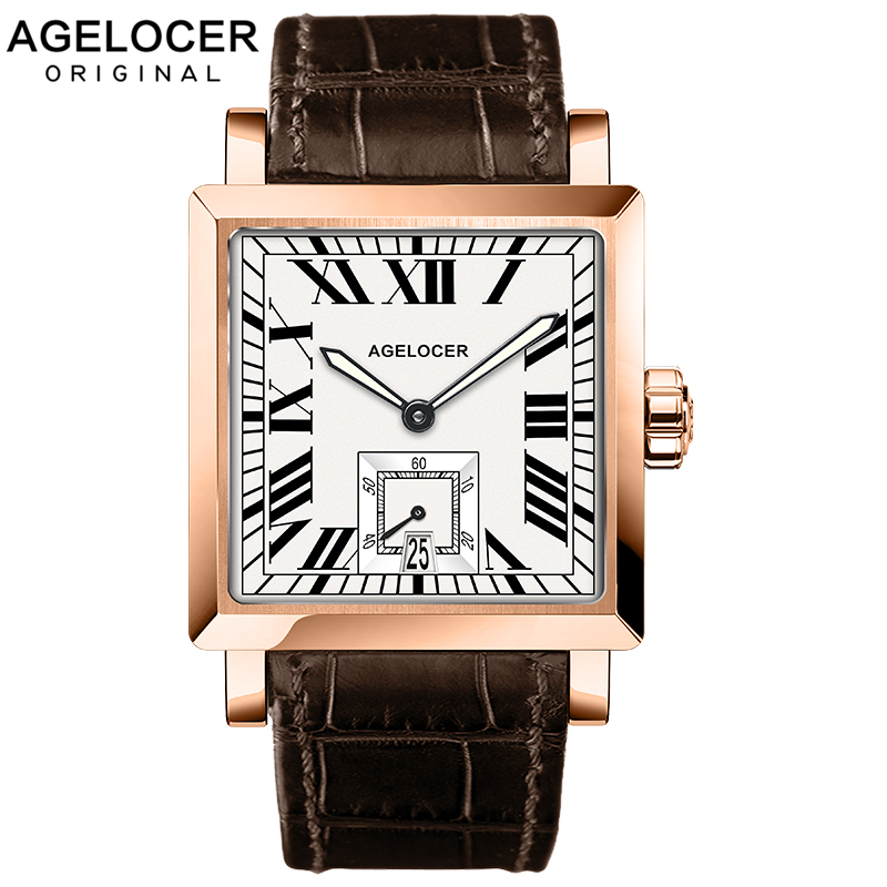 AGELOCER Swiss Watches Men Brand Business Watch Black Calendar Big Date Luminous Analog Gift Wristwatch Man Square Seconds DialAGELOCER Swiss Watches Men Brand Business Watch Black Calendar Big Date Luminous Analog Gift Wristwatch Man Square Seconds Dial