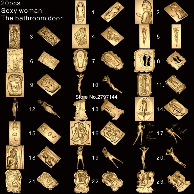 23pcs The Bathroom Door_Sexy Woman 3D STL Model For Carved Figure Cnc Machine Crucifixion Model For Cnc Router Engraver ArtCam