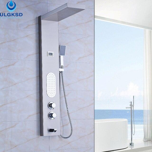 ulgksd grohandel und einzelhandel theromastatic wasserfall regen dusche panel mit massage dusche spalte jets badewanne handbrause - Wasserfall Regendusche