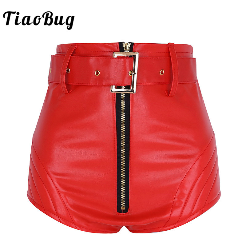 TiaoBug Women Wet Look PU Leather Front Zipper High Waist Booty Hot Shorts Bottoms with Belt Sexy Rave Club Party Dance Shorts