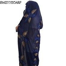 Новые африканские шарфы мусульманские вышивка женский большой шифоновый шарф для Шали Обертывания головной платок красивый дизайнерский шарф BM439