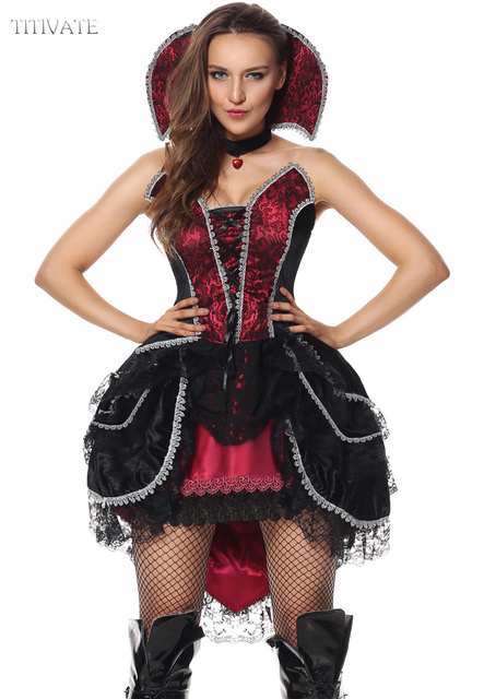 TITIVATE Sexy Luxus Halloween Hen Party Gothic Hexe Kostum Sleeveless Outfit Cosplay Kostume M XL Fur