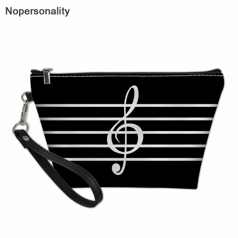 Nopersonality Music Note Women Travel Makeup Bags,Ladies Small Portable Cosmetic Bag,Female Waterproof Beauty Bag Make Up Bag