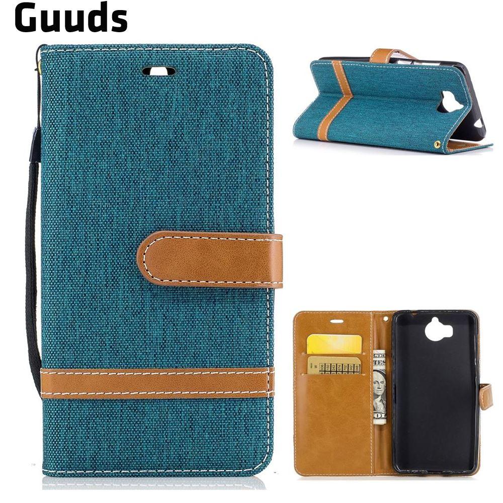For Huawei Y5 (2017) Leather Case Jeans Cowboy Denim Leather Wallet Case for Huawei Y5 (2017) FREE SHIPPING