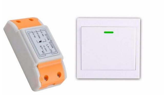New 220 v 1 canais interruptor de controle remoto 1 * receptor + 1 * transmissor novo pode colar na parede