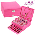 Exclusive design The princess European jewelry box with lock cassette 3 layers makeup box for Christmas  gift.wedding gift