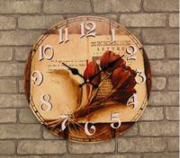 021199 14 Inch Wooden Wall Clock Modern Design Vintage Rustic Shabby Chic Home Flower Decoration Art