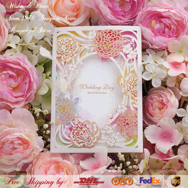 European Lace Hollow Gliding Gold Pink Wedding Invitation Cards With Erfly Invitations Chinese Ink Painting