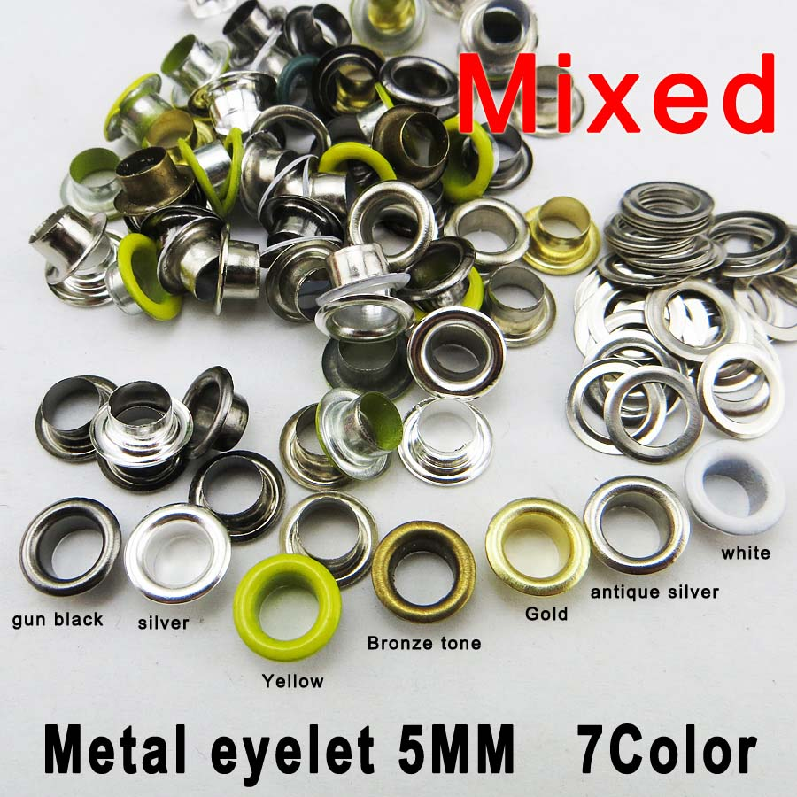 300pcs 8*4*5mm Mixed color metal SILVER eyelet round button clothes accessory leather ba ...