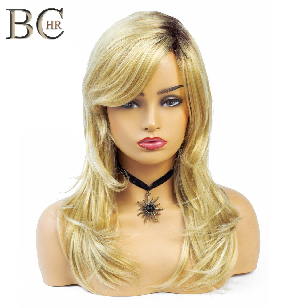 BCHR Natural Wave Blonde Synthetic Wigs For Women Dark Root Ombre Wig For Wedding  For Black Women Trendy African American Hair