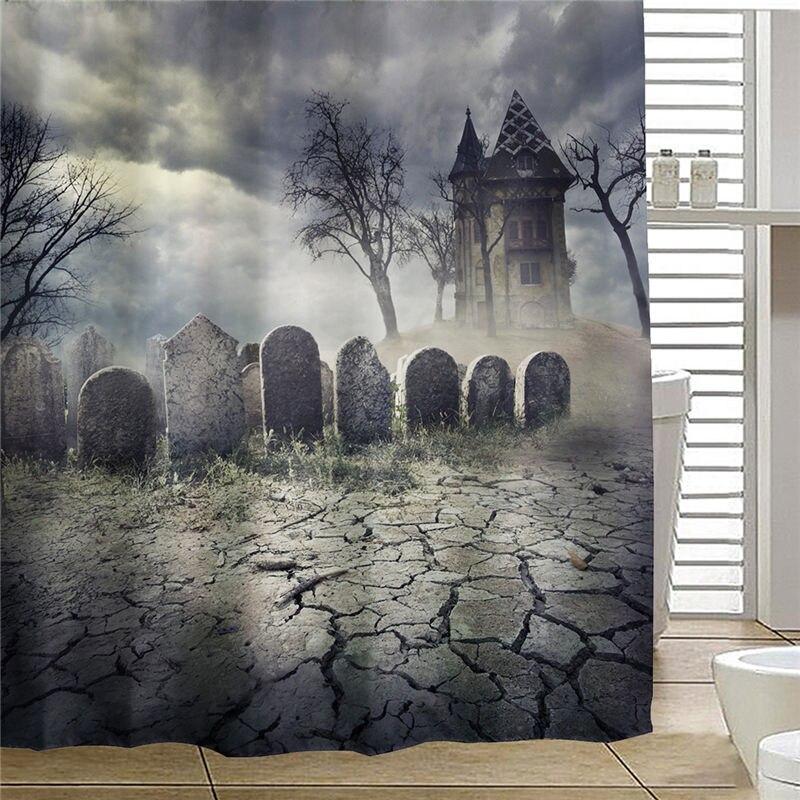 Halloween Graveyard Haunted House Fabric Bathroom Shower Curtain Waterproof Tub Curtain Home Decor With 12 Hooks