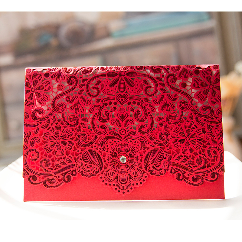 royal blue pink red gold laser cut wedding invitations rhinestones