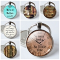 So Many Books So Little Time Silver Plated Key Chains Quote Round Glass Dome Pendant Keychain Key Rings Holder Mans Woman Gift