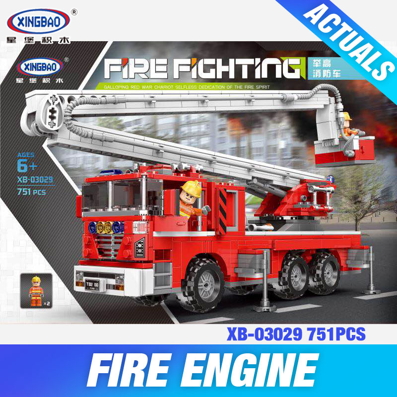 XINGBAO 03029 City Toys Series The Elevating Fire Truck Set Building Blocks Bricks Kids Toys Car Model Birthday Christmas Gifts