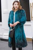 Длинные натуральный пальто с мехом для Женская мода теплые зимние 100 см длинные натуральный мех енота пальто синий цвета: зеленый, Черный цв