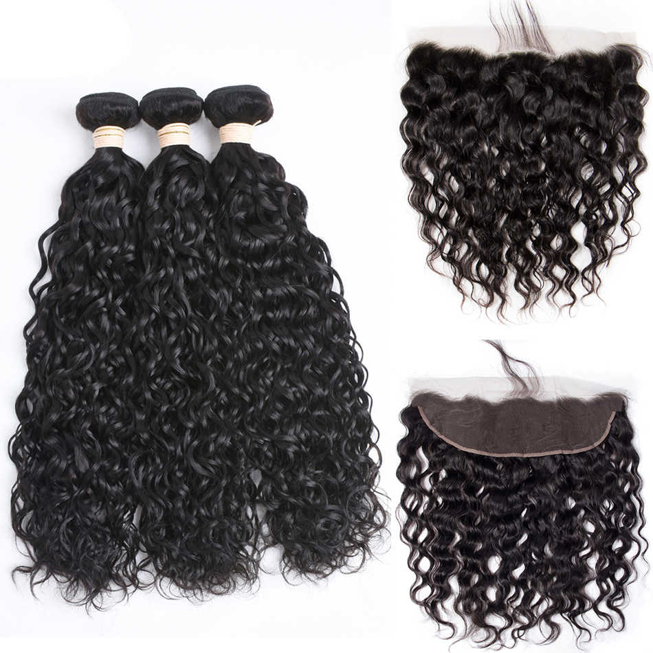 Malaysian Water Wave Human Hair Bundles With Closure Curly Ear To Ear Lace Frontal Closure With Bundles Wavy Hair Weave