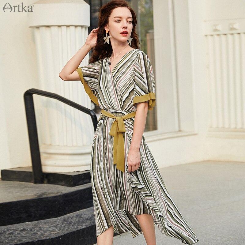 ARTKA 2019 été femmes robes rayé robe en mousseline de soie avec ceinture irrégulière conception robe Vintage imprimé col en v robe LA15793X
