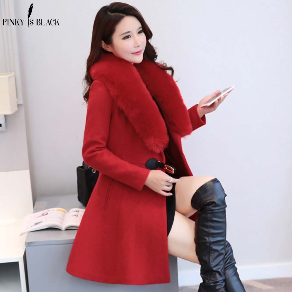 Manches Hiver Manteau gris Laine Outwear Casual Et Veste Automne Mujer rouge rose De Pinkyisblack Travail Noir Lady 2019 Office Longues Élégante Femmes gwx45nn6