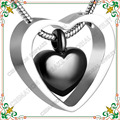 CMJ8078 Black heart pendant 316L stainless steel cremation urn Pendant Necklace  jewelry gargantilha