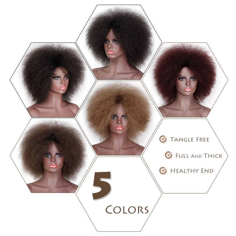 Doris beauty Afro Wig for Women African Dark Brown Black Red Color Yaki Straight Short Wig Synthetic Cosplay Hair