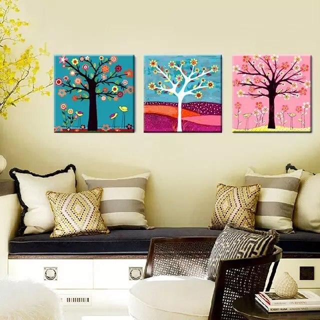 3 unids gran árbol rico colorido imagen sin marco en la pared ...