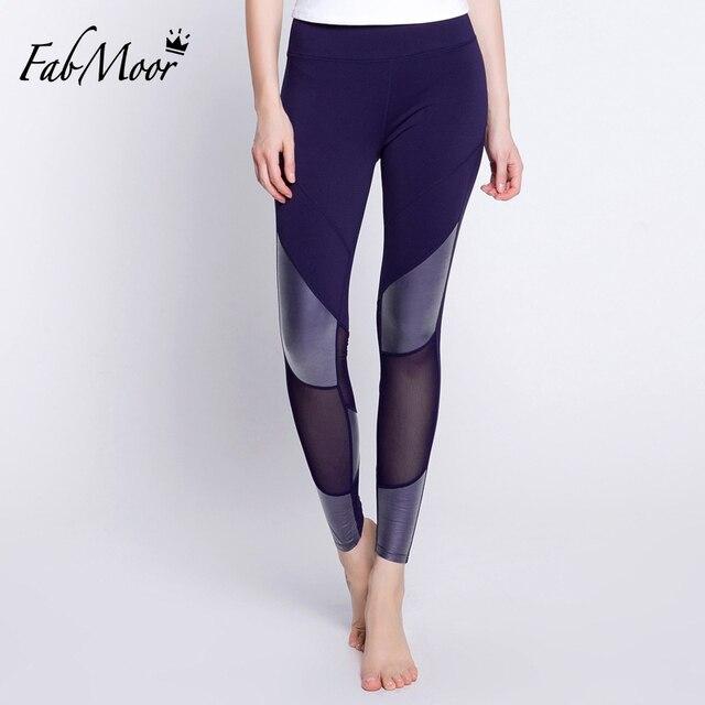 Verano patrón pu panel costura Yoga pantalones figura que forma ...