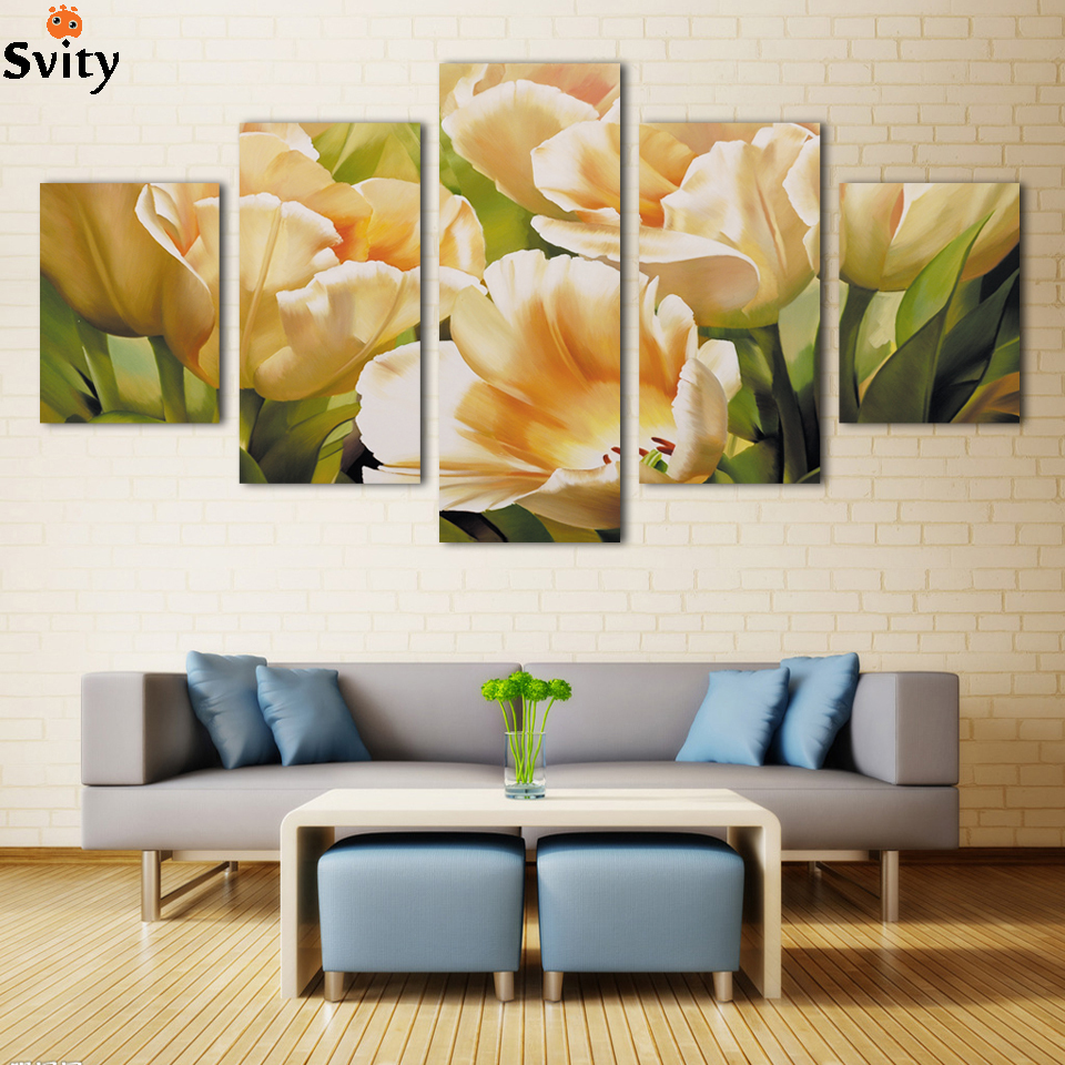 Doprava zdarma Moderní Tulipánové plátno Malování domácí dekorace do obývacího pokoje Nástěnná umělecká sada bez rámu H091 velkoobchod
