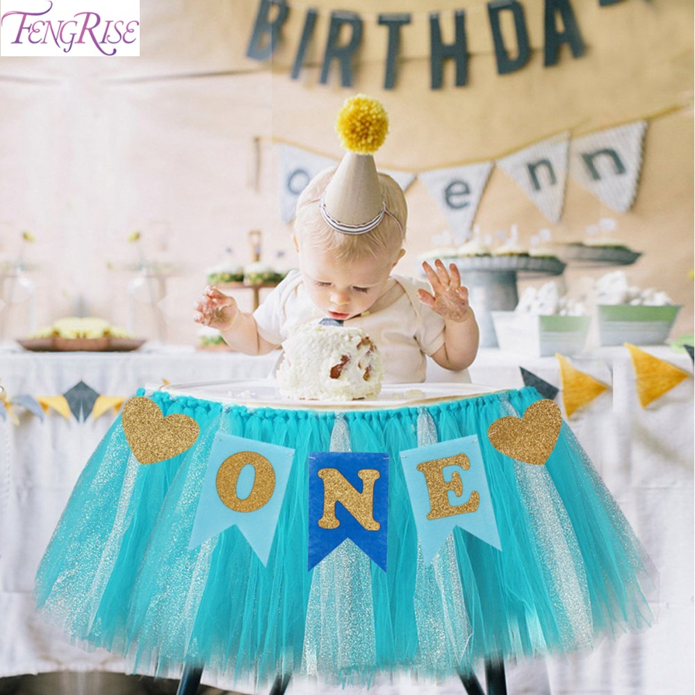 FENGRISE Baby First Birthday Blue Pink Chair Banner ONE