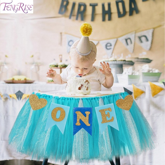FENGRISE Baby First Birthday Blue Pink Chair Banner ONE Year 1st Party Decoration Boy Girl