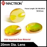 USA Zinc Selenide Optical Mirror, ZnSe Co2 Laser Focus Lens Dia 20mm FL38.1, 50.8, 63.5, 76, 101mm