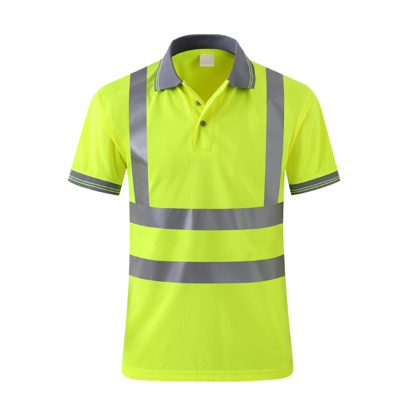 High Visibility Reflective Safety Work Shirt Mens Workwear   Polos   Fluorescent Yellow Reflective Tape Breathable Riding/Traffic