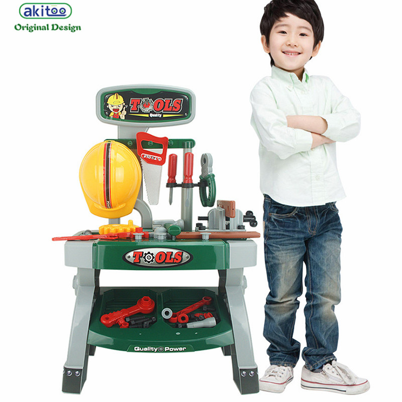 akitoo 3217 new Children play house toy set little engineer boy toy simulation maintenance tool table