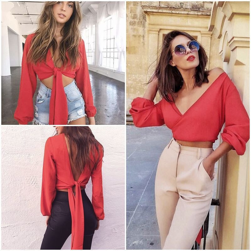 0e345b3f601 US $7.58 |2019 Summer Korean style women Blouses Shirts sexy deep V neck  back bow chiffon Blouse Casual Lantern Sleeves Back hollow Tops-in Blouses  & ...