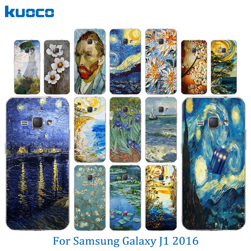 For Samsung Galaxy J1 2016 Case Van Gogh Pattern Cover for J1 2016 J120F Cases Silicon Cover For J1 J120 J120H 4.5bags