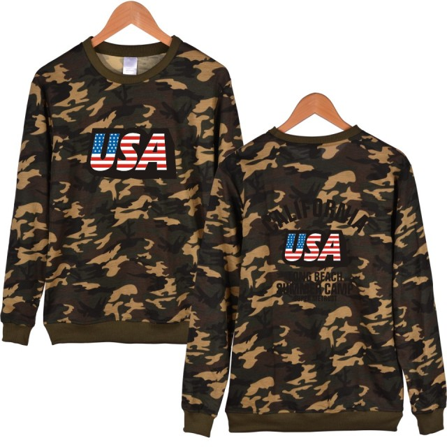USA Flag Printed Camo Sweatshirt