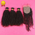 Top 7A Brazillian Kinky Curly Virgin Hair With Closure 3 Bundles With Silk Closure Afro Kinky Curly Hair With Silk Base Closures