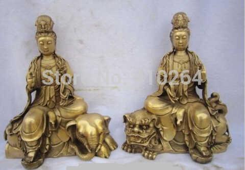 """SCY [starego rzemiosła] para 11 """"chiński Spiżowy Wenshu Puxian Lew Słoń Ruyi Statua Lotus Kwan yin Jazdy (A0314)"""