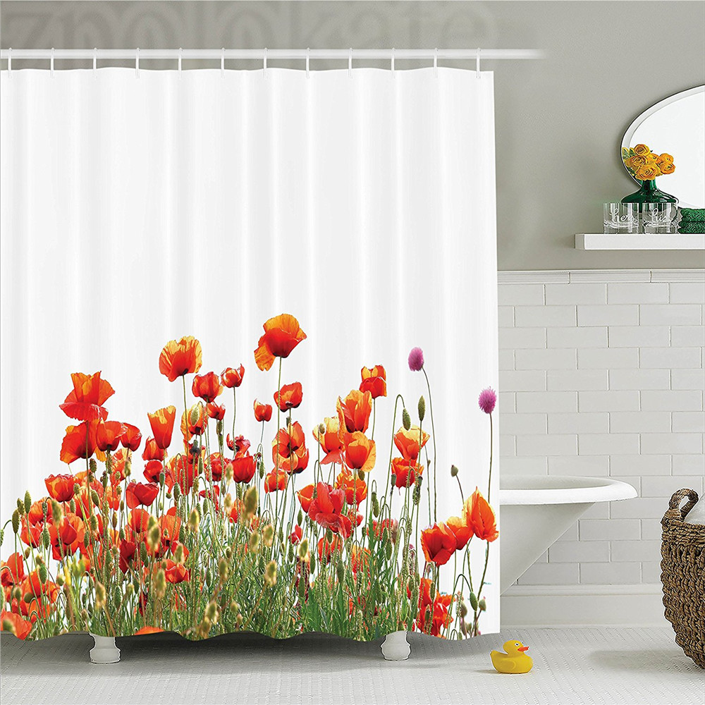Poppy Popeyes Springfield Countryside Botanical Nature Meadow Landscape Print Polyester Bathroom Shower Curtain Orange Red Green