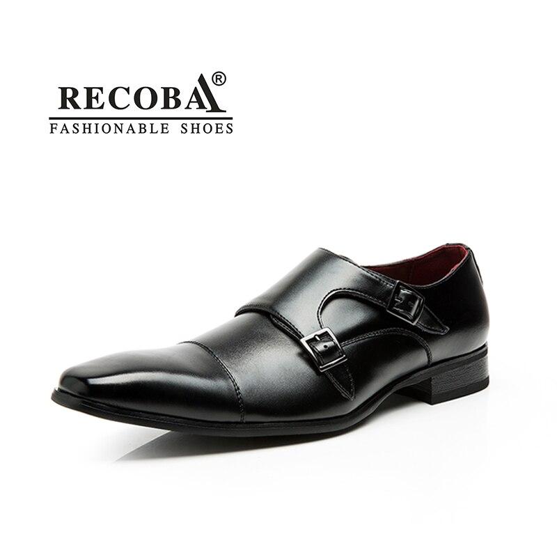 Hommes chaussures casual marque de luxe en cuir véritable noir formelle robe double moine boucle bretelles de mariage derbies chaussures zapatos hombre