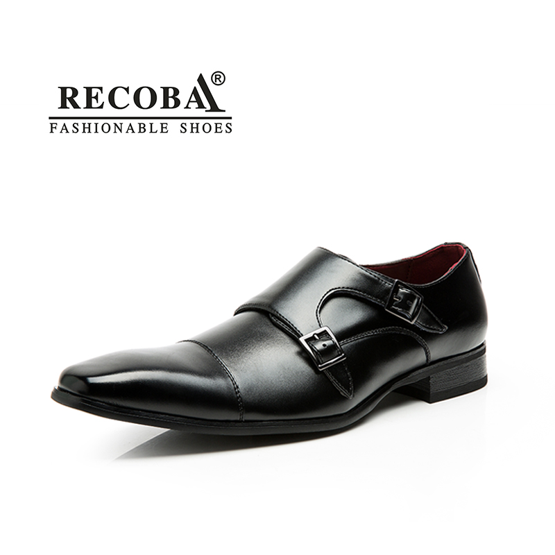 Mens casual shoes luxury genuine leather flats business formal shoes mens dress brogues oxfords monk strap shoes zapatos hombre